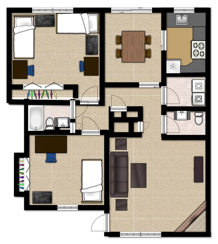 Off Campus Housing   Barton CollegeView Floor Plan