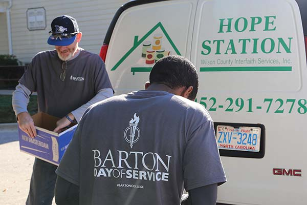 Barton student and faculty at Day of Service