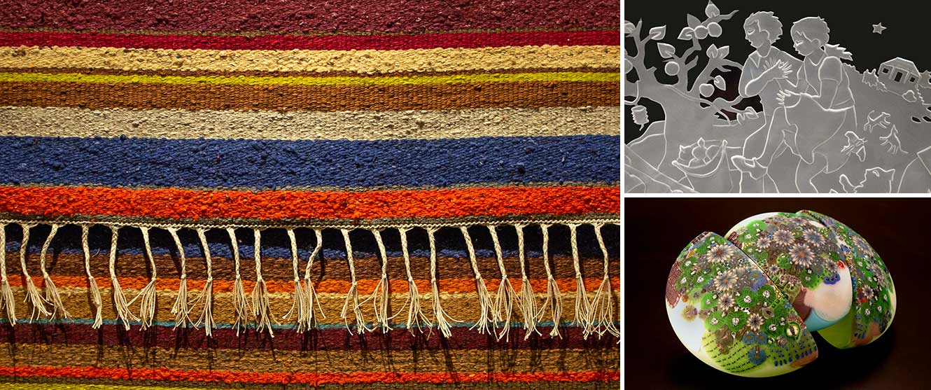 Combined images of fabric art by Edwina Bringle and glass art by Jan and Richard Ritter